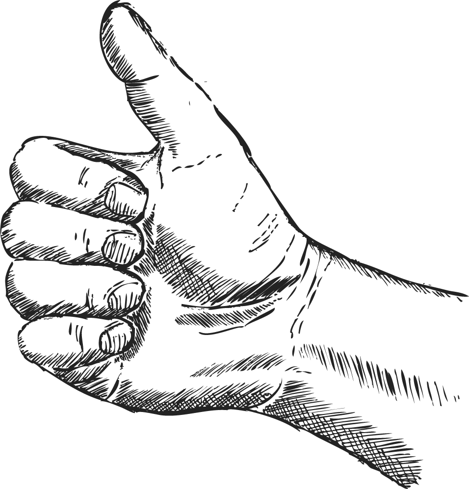 Woodcut illustration thumbs up