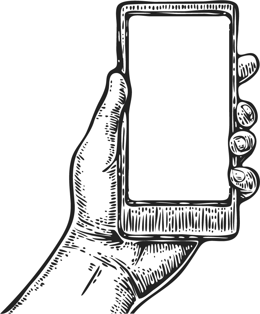 Woodcut illustration hand holding phone